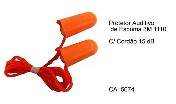 Protetor Auditivo de Espuma 3M 1110 C  Cordão 15 dB afc5ba1308